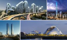 China Himalayas Center, Greenland Tower, Harbin Opera House and the Guiyang Towers