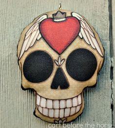 Szárnyas Szív Sugar Skull Tattoo dísz - eredeti népművészeti Skeleton- Nyomtatott és kitömött Fabric