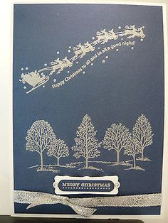 5 CHRISTMAS CARDS KIT STAMPIN UP WANDERING WORDS LOVELY AS A TREE SANTA'S SLEIGH