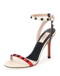 Rockstud+Lacquer-Stud+Ankle-Wrap+Sandal,+Rosso/Lt+Ivory+by+Valentino+at+Neiman+Marcus.
