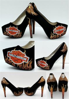 Harley Davidson Motor Cycles Crystal and Glitter Shoes- the best of both worlds <3