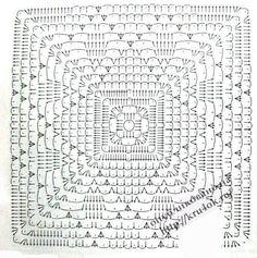 Photo from album on Yandex. Crochet Square Patterns, Crochet Blocks, Crochet Diagram, Crochet Chart, Crochet Squares, Thread Crochet, Crochet Granny, Crochet Motif, Crochet Doilies