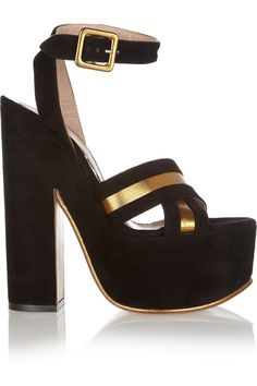 Suede and metallic leather sandals by Rochas IT40 only