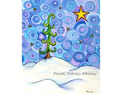 Tree on Snow Field Original Watercolor Matted Print by PaintFabricWhimsy.etsy.com, $18.00