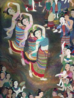 Dancing Drawings, Art Drawings, Mural Painting, Artist Painting, One Night In Bangkok, Thailand Art, Thai Art, Drawing Artist, Dance Art