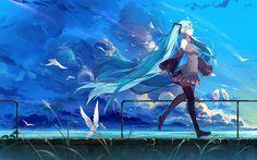 Herunterladen hintergrundbild hatsune miku, vögel, manga, anime-figuren, vocaloid