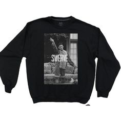 "Fresh Prince of Bel Air Will Smith ""SWERVE"" 90's Dope Fresh Mens Black or White Crewneck Sweatshirt Sweater featuring polyvore, men's fashion, men's clothing, men's sweaters, shirts, tops, zzz winter storage, mens crewneck sweaters, mens graphic sweaters, mens white sweater and mens crew neck sweaters"