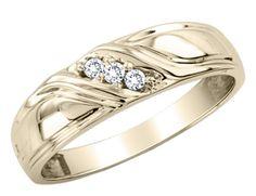 Men's Diamond Wedding Band 1/10 Carat (ctw) in 10K Yellow Gold