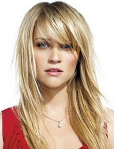 medium length layered hairstyles part long shag blonde hair