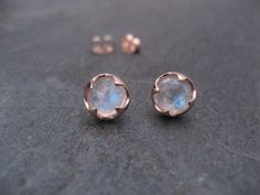 Breathtaking Rose Gold Jewelry to Help You Stay on Trend: Rose Gold Stud Earrings with Moonstone