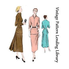 1940s Ladies Cocktail Dress with Yoke Drape - Reproduction Sewing Pattern #F7725 di VintagePatternGirl su Etsy https://www.etsy.com/it/listing/210372899/1940s-ladies-cocktail-dress-with-yoke