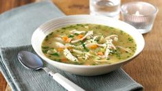 Chicken soup |      Pure soul food, this warming, easy chicken soup makes the most of leftover roast chicken.Each serving provides 288kcal, 28g protein, 11.5g carbohydrate (of which7g sugars), 14g fat (of which 6.5g saturates), 3.4g fibre and 0.7g salt.