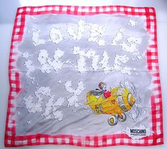 """Love this silk scarf! Moschino Cheap and Chic - Italy """"LOVE IS IN THE SKY"""" Moschino, Reusable Tote Bags, Italy, Sky, Chic, Fashion, Heaven, Shabby Chic, Moda"""