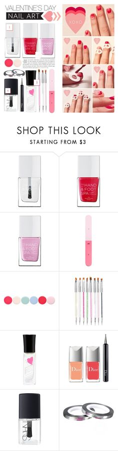 """""""VDay Nails"""" by cynthia6 ❤ liked on Polyvore featuring beauty, The Hand & Foot Spa, H&M, Nails Inc., Christian Dior, NARS Cosmetics and nailart"""