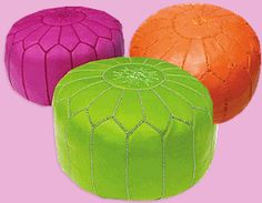 Fun with fucshia! Hand-stitched Moroccan leather poufs make a great ottoman / footstool. Little ones enjoy them as a seat that's just their size. Enjoy the versatility and color of this classic decor accessory in your home.