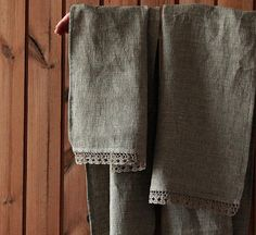 Linen bath-face-hand towel with hand crochet natural by LinenSpace