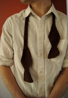 crochet ideas The new age, never tied Start the night at the end and see where it goes Crochet Men, Crochet For Boys, Cute Crochet, Crochet Crafts, Crochet Things, Crochet Projects, Crochet Bow Ties, Knit Tie, Make A Bow Tie