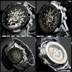 WINNER Black Skeleton Men Dial Automatic Mechanical Silver Stainless Steel Watch #Winner #Sport