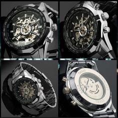 WINNER Black Skeleton Men Dial Automatic Mechanical Silver Stainless Steel Watch #Winner #Sport