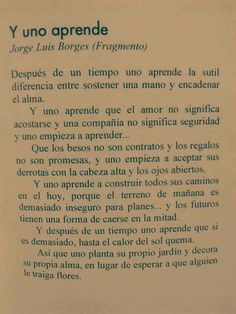 Y uno aprende. Fragmento de Jose Luis Borges #bellezafrases