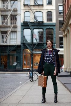 Love the plaid (shirt and coat), green pants, and boots.