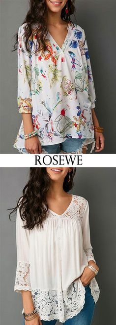 Three Quarter Sleeve Button Neck Printed Top. #Rosewe #clothing #top #casualstyle - #blouse