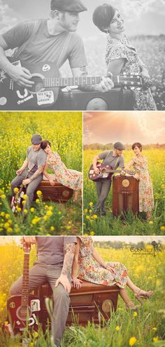 A field of flowers is always a great background. Very lovely photo session.