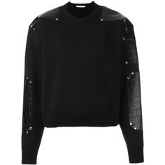 Givenchy Leather Patch Knitted Sweater (€1.755) ❤ liked on Polyvore featuring tops, sweaters, black, givenchy sweater, long sleeve leather top, cropped sweater, givenchy and long sleeve crop top