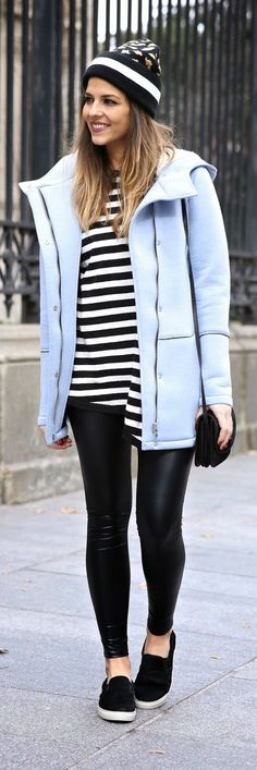 Cozy Neoprene Jacket , Stripes Asymmetric Sweater , Faux Legging | Fall Outfits