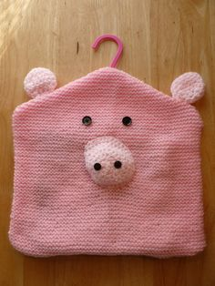 Hand Knitted Novelty Pig Clothes Peg Bag