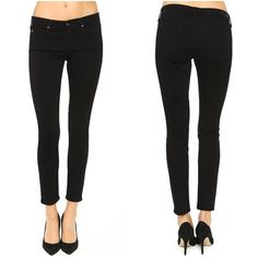 "AG The Lux Super Skinny Ankle Black Jean Leggings AG Adriano Goldschmied ""The Lux Supper Skinny Ankle Legging"" in midnight-black wash, complete with tonal stitching and subtle hardware which creates an uber-svelte silhouette in super-skinny low-rise jeans cut in a versatile ankle-grazing length. 28"" inseam; 7 1/4"" front rise. Zip fly with button closure. Five-pocket style. Size 25"", but very stretchy. Barely worn. AG Adriano Goldschmied Jeans Skinny"