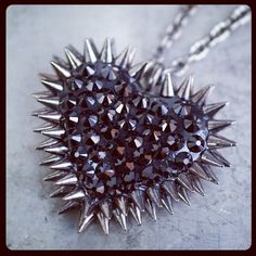 Silver spikes heart necklace http://www.shanalogic.com/black-paved-spiked-heart-necklace.html #handmade #heart #goth #jewelry