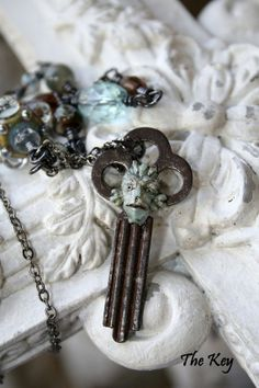 Gaurdian Of Atlantis - Antique Key Necklace - Mermaid Necklace - Keeper of the Sea - Sea Creature
