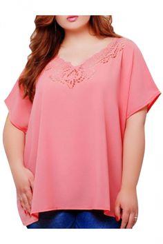 eba2232320ca0 Womens Plus Size Plain Lace Patchwork Short Sleeve Blouse Pink