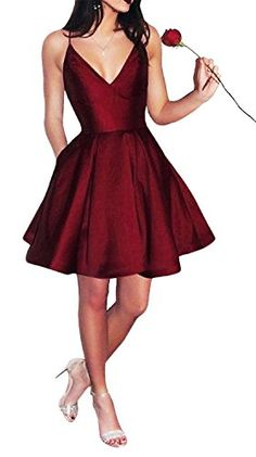 * This simple homecoming dress features spaghetti strap bodice with plunging v-neck and satin a-line skirt. Finished with v-neck and zipper closure. A-line Satin None Spaghetti Strap Sleeves Natural Mini Details: Zipper Simple Homecoming Dresses, Simple Bridesmaid Dresses, Prom Dresses With Pockets, Hoco Dresses, Dress Pockets, Burgundy Bridesmaid, Dress Prom, Dance Dresses, Sexy Dresses