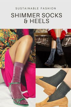 Ethically-made, zero-waste and zero-emmisions recycled socks with a touch of sparkle! #swedishstockings #shimmersocksandheels #sparklysocksandheels #2020fashiontrendsaustralia #glittersocksandheels Socks And Heels, Ankle Socks, Knee High Stockings, 2020 Fashion Trends, High Knees, Fashion Socks, Zero Waste, Sustainable Fashion, Hosiery