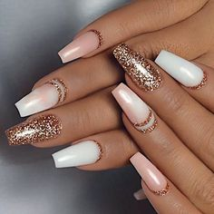 A manicure is a cosmetic elegance therapy for the finger nails and hands. A manicure could deal with just the hands, just the nails, or Hair And Nails, My Nails, How To Do Nails, Cute Nail Designs, Acrylic Nail Designs, Acrylic Gel, Glitter Nail Designs, Gold Acrylic Nails, Acrylic Nails For Summer Glitter