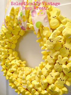 Peeps wreath...finally something to do with these things. Too cute for Easter.
