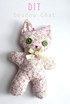 "Tuto doudou Barnabé the kitten - Féelaureve - - Tuto doudou Barnabé le chaton Barnabé the kitten is perfect to begin in sewing. So for all those who would like to launch a special tutorial ""I never sewn with my life"" To realize Barnabas the cat … Sewing Toys, Sewing Crafts, Sewing Projects, Baby Couture, Couture Sewing, Sewing Stuffed Animals, Stuffed Toys Patterns, Dinosaur Stuffed Animal, Sewing Patterns Free"
