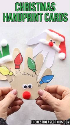 kids crafts slime kinderhandwerk CHRISTMAS HANDPRINT CARDS - love these easy Christmas cards for kids to make! If youre looking for Christmas crafts for kids, toddlers, preschool or kindergarten these would be perfect to make! Kids Crafts, Toddler Crafts, Preschool Crafts, Crafts For Babies, Winter Crafts For Toddlers, Diy Crafts For Kids Easy, Quick Crafts, Hand Crafts, Craft Kids