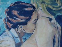 """A painting from the lesbian-feminist series """"Portraits"""" by Juliette Gorge Coppens """"It is my ambition to paint women and their feelings, hoping to touch, move and delight all those who recognize themselves. Art Gay, Lesbian Art, Lesbian Love, Art Inspo, Kunst Inspo, Art Lesbien, Pintura Hippie, Creation Art, Gay Aesthetic"""