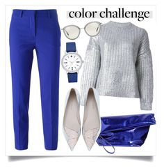 """""""Rock This Look: Blue and Silver"""" by alaria ❤ liked on Polyvore featuring moda, MSGM, Marni, DKNY, Sophia Webster, Oliver Peoples, Kate Spade, contestentry y blueandsilver"""