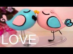 Topo de Passarinhos para casamento - Tutorial em biscuit por Regiane Ribeiro - YouTube