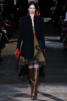 Givenchy AW12  military style coat with lace hem pleated khaki silk skirt