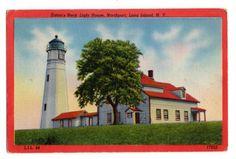 Eaton's Neck Lighthouse, Northport, Long Island, New York vintage linen postcard