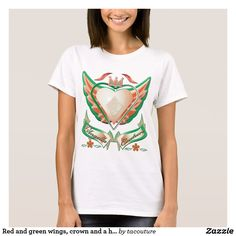 Red and green wings, crown and a heart T-Shirt