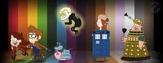 Gravity Falls,фэндомы,Mabel Pines,GF Персонажи,Dipper Pines,Bill Cipher,Wendy Corduroy,crossover,Doctor Who,Доктор кто, DW