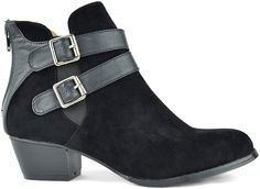 Black Strap-Accent Ted Ankle Boot