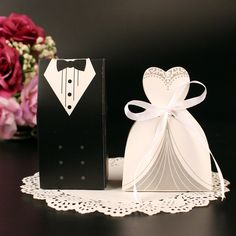 6pcs Bride And Groom Wedding Candy box  Wedding Favor Box Gift Boxes Suit and Wedding dress Paper Gift Box #Affiliate