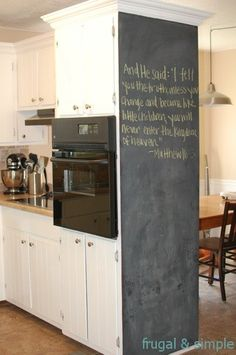 I love this blackboard idea for the kitchen - In the pantry or on the chimney wall